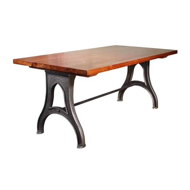 Industrial Desk – Walnut Top With Cast-Iron Legs For Sale - Image 13 of 13