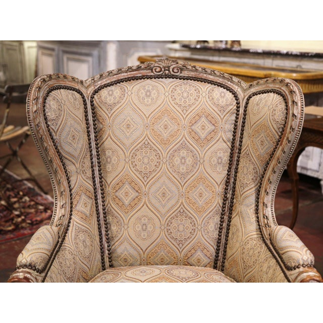 19th Century Louis XVI Carved and Painted Ear Shape Fauteuils - a Pair For Sale - Image 4 of 13