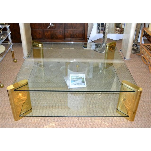Karl Springer Karl Springer Mid-Century Modern Brass & 2-Tier Glass Coffee Table, Signed For Sale - Image 4 of 13