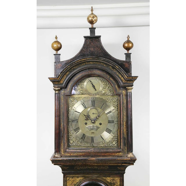 English Traditional George III Green Japanned Tall Case Clock For Sale - Image 3 of 11