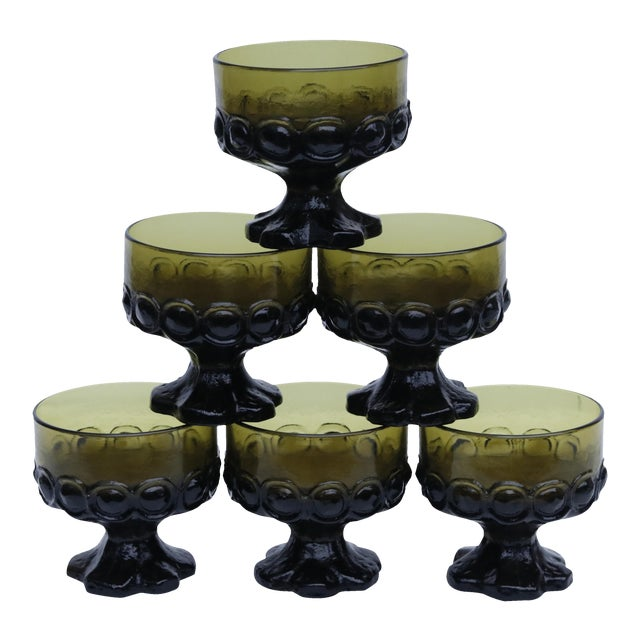 Green Dessert Dishes - Set of 6 For Sale