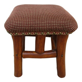 Rustic Upholstered Stool With Brass Tacks For Sale