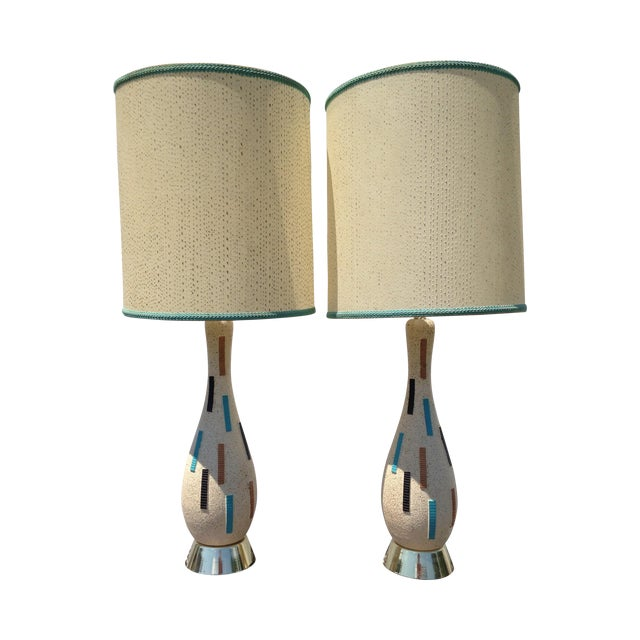 Mid-Century Modern Pottery Lamps - A Pair - Image 1 of 5