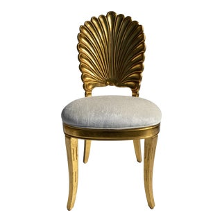 1970s Grotto Style Gold Leaf Shell Back Chair For Sale