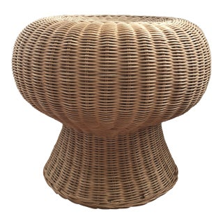 1970s Vintage Wicker Rattan Mushroom Shaped Ottoman For Sale