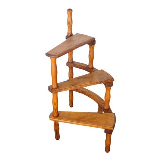 1950s French Country Style Oak Ladder Plant Stand For Sale
