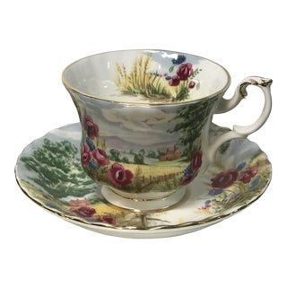1930s Royal Albert Floral Country Scenes Tea Cup and Saucer For Sale