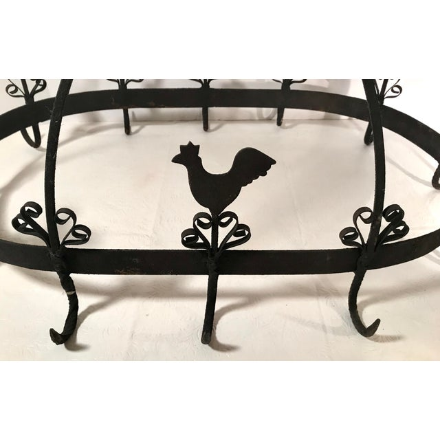 Black 20th Century French Country Black Iron Pot Rack For Sale - Image 8 of 11