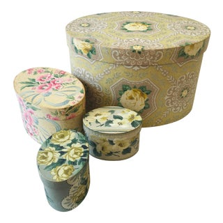 Antique Floral Green Tone Wallpaper Decorator Boxes - Set of 4 For Sale