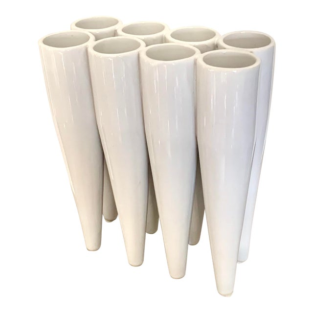 Modern Contemporary White Glaze 8-Section Ceramic Vase For Sale