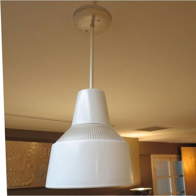 Italian Italian Ribbed Glass Hanging Pendant Lamp For Sale - Image 3 of 5