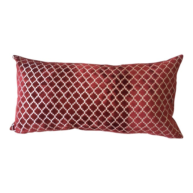 Red Velvet Pillow With Feather Insert - Image 1 of 3