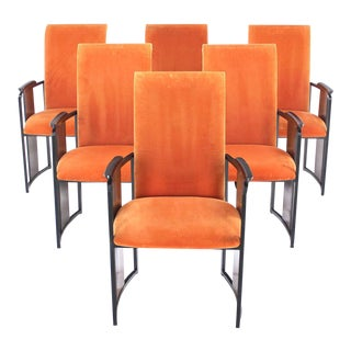 Set of Six Mid-Century Modern Metal and Rosewood Frame Dining Chairs For Sale