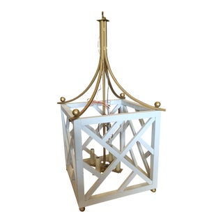 Chippendale White & Gold Pendant For Sale