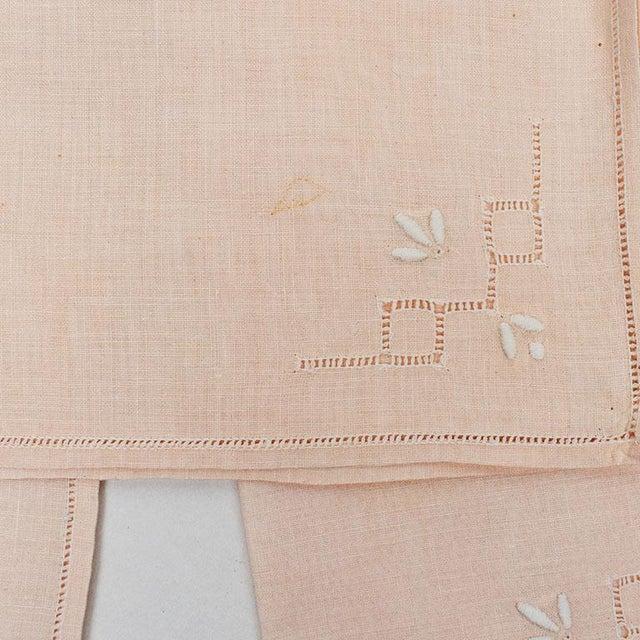 French Hem Stitched Ballet Pink Embroidered Cloth Napkins - Set of 4 For Sale - Image 4 of 6