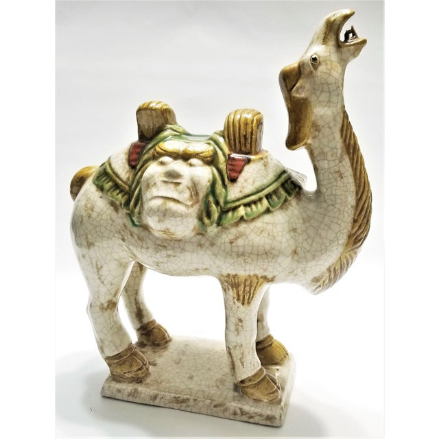 Vintage Chinese Ceramic Camel Buddha Statue Sculpture - Tang Style - Asian Mid Century Modern Palm Beach Boho Chic Chinoiserie For Sale - Image 12 of 12