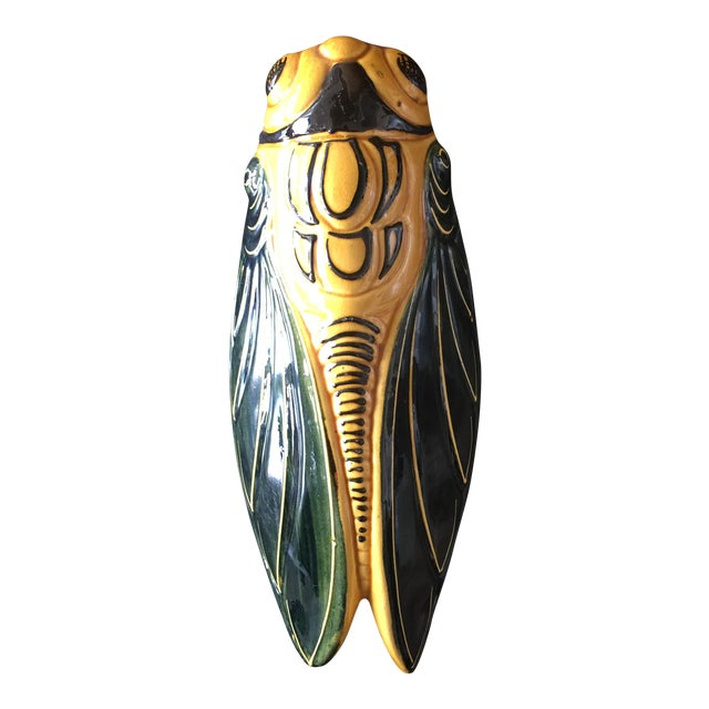 Mid-Century French Majolica Hand-Painted Cicada Wall Pocket For Sale