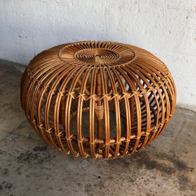 Iconic Vintage Century Woven Rattan Ottoman Designed by Franco Albini. For Sale - Image 9 of 9