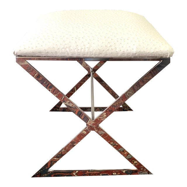"""Worlds Away """"x"""" Upholstered Stool For Sale"""
