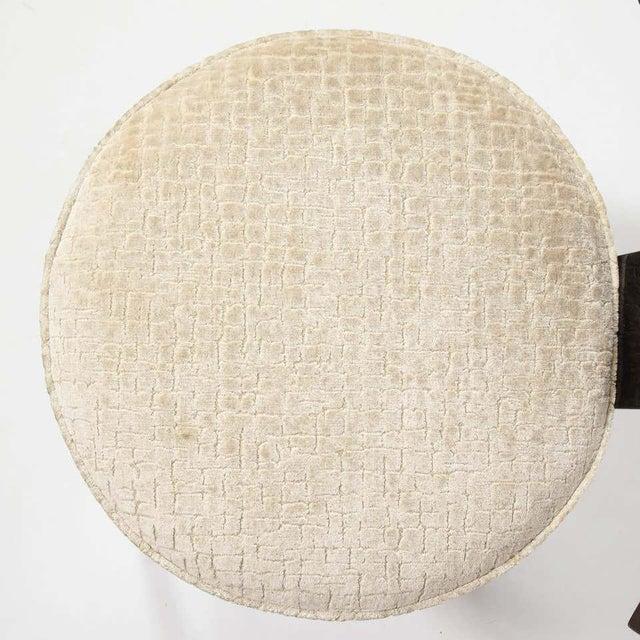 Mid-Century Modern Ebonized Walnut and Gauffraged Oyster Klismos Vanity Chair For Sale - Image 9 of 10