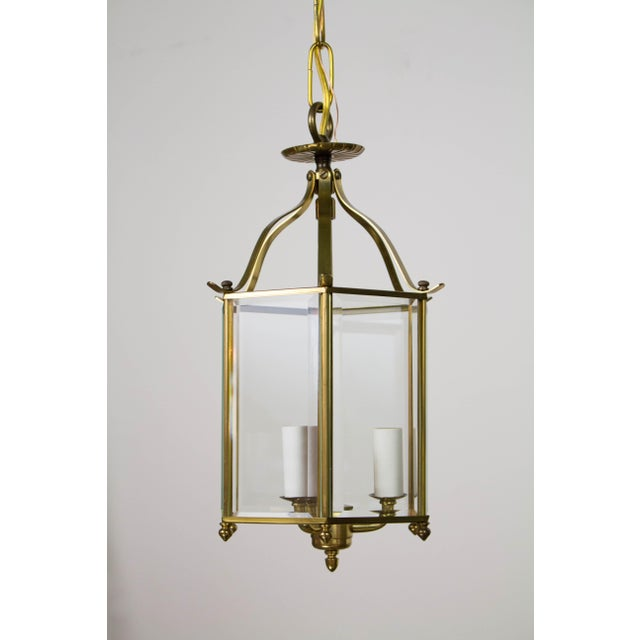 Hexagonal Beveled Glass Lantern. Includes chain and canopy Three light cluster. Has been cleaned and completely rewired....