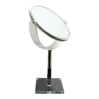 1970s Mid Century Modern Charles Hollis Jones Lucite Acrylic Vanity Mirror For Sale