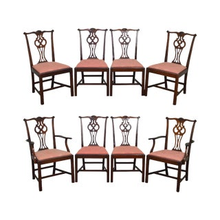 Hickory Chair Solid Mahogany Chippendale Style Dining Chairs - Set of 8