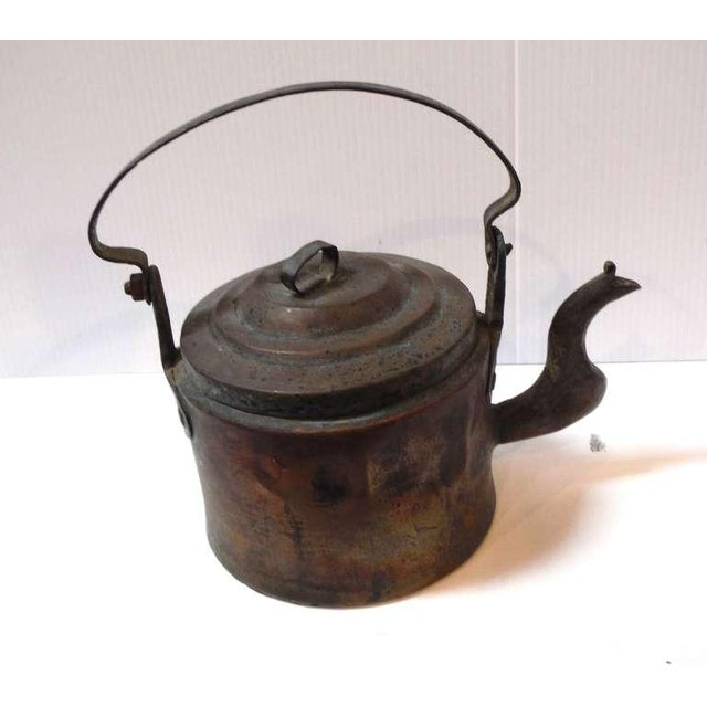 Primitive 18Thc Hand Made Copper Coffee Pot From New England For Sale - Image 3 of 6