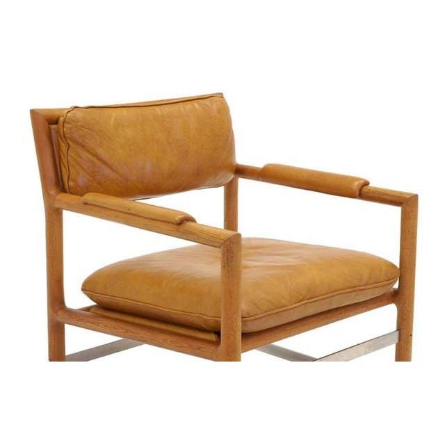 Leather, Mahogany and Steel Armchair by Edward Wormley for Dunbar For Sale In Kansas City - Image 6 of 10