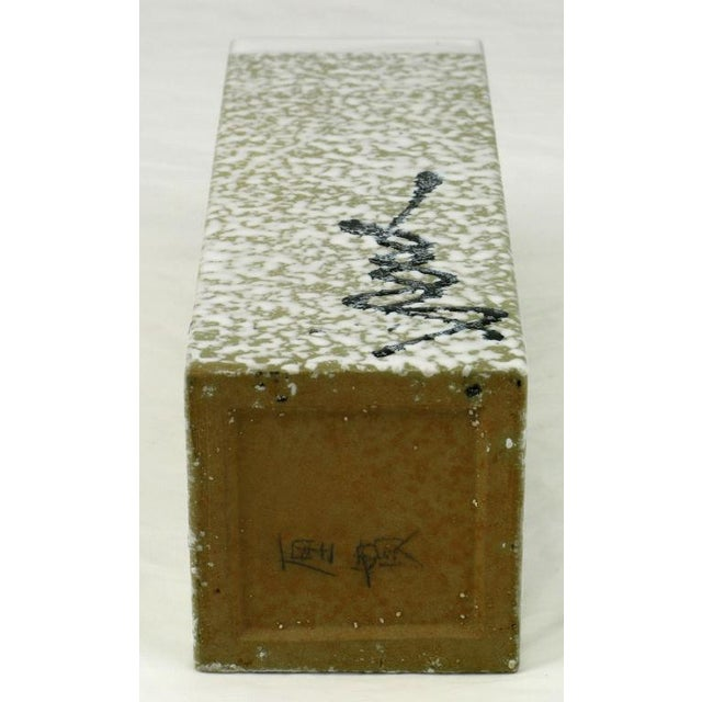 Glazed Stippled White And Black Patterned Pottery Vase For Sale - Image 4 of 4