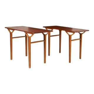 Peter Hvidt & Orla Molgaard Nielsen Ax Series Side Tables - a Pair For Sale