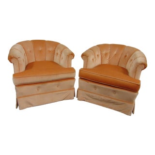 Mid Century Orange Velvet Tufted Club Chairs - a Pair For Sale