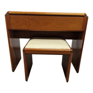 Danish Makeup Vanity With Stool For Sale