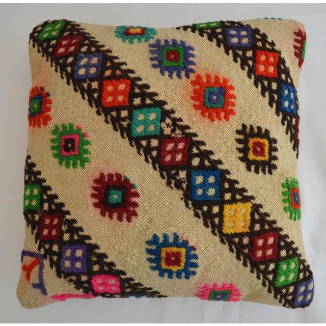 2010s Vintage Handmade Kilim Rug Pillow Cover Turkish Diagonal Cut Throw Pillow For Sale - Image 5 of 5