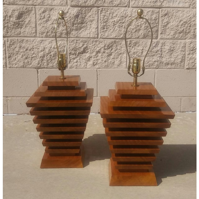Mid-Century Wood Stacked Lamps - A Pair - Image 2 of 6