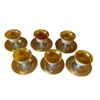 1920s Vintage Steuben Gold Aurene Art Glass Compote Bowls & Marching Plates- 12 Pieces For Sale