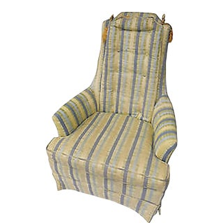 1970s Vintage Soft Colors Striped Throne Chair For Sale
