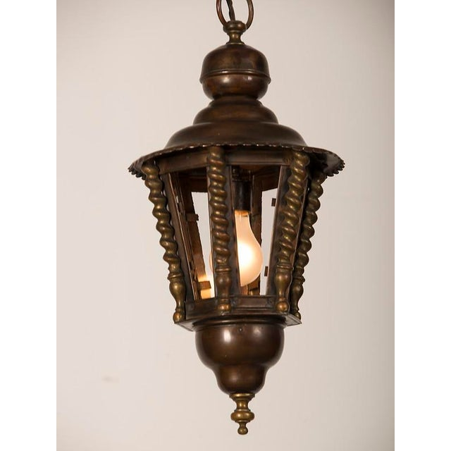 1920s 1920s Vintage Hexagonal Handsome Brass French Lantern For Sale - Image 5 of 7