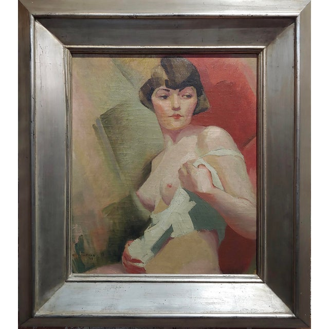 Reva Jackman -1927 Art Deco & Cubism Nude Female Portrait-Beautiful Oil painting oil painting on canvas -Signed and dated...