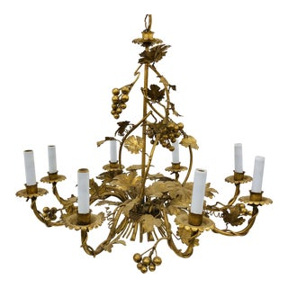 Antique French Gilded Ivy Chandelier For Sale
