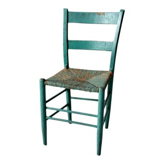 Antique Painted Rush Seat Chair For Sale