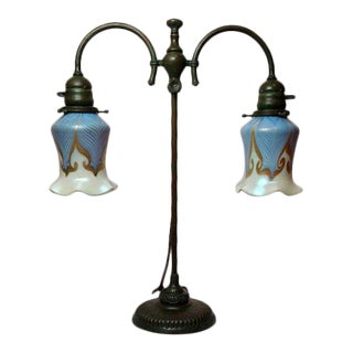 20th Century Art Nouveau Tiffany Studios Double Arm Student Lamp For Sale