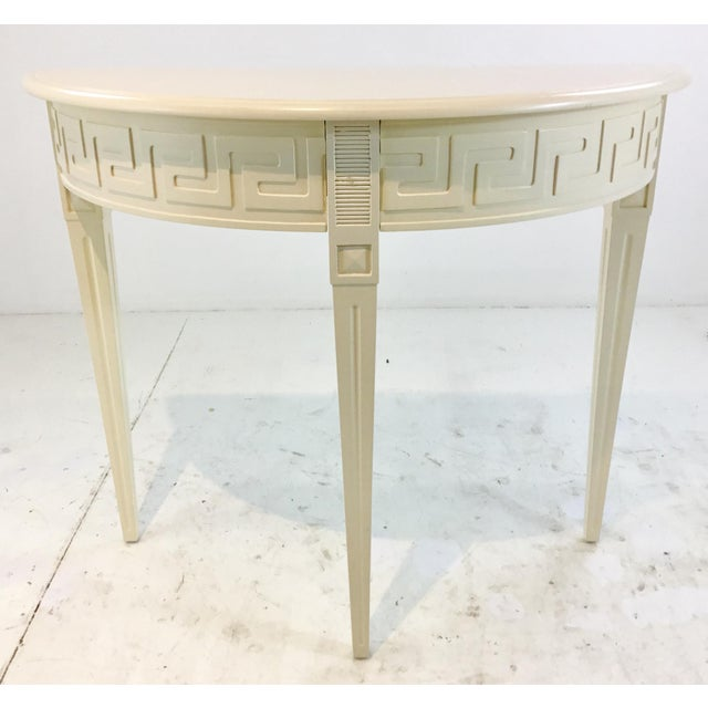2010s Ave Home Modern Ivory Wood Athena Demi-Lune Console Table For Sale - Image 5 of 5