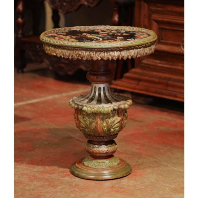 Baroque 19th Century Italian Carved Giltwood and Painted Side Table With Eglomise Top For Sale - Image 3 of 8