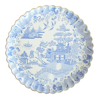 Antique Large Copeland Willow Pattern Cake Platter With Gilt Rim For Sale