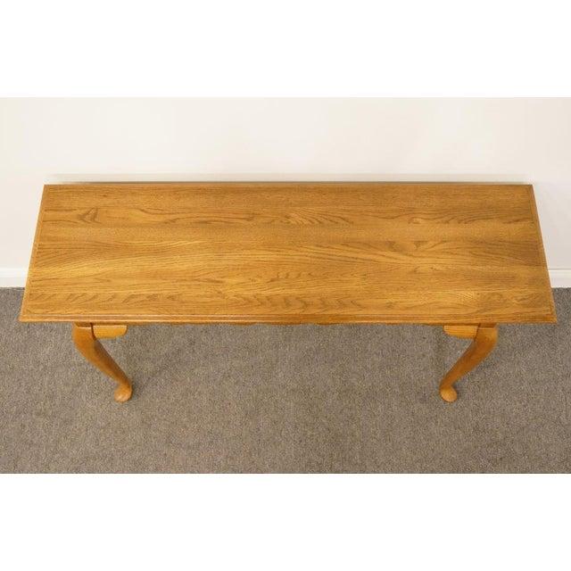 "French Kincaid Furniture French Country Solid Oak 52"" Sofa Accent Table For Sale - Image 3 of 9"