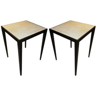 Custom Pair of White Shagreen Top Tables For Sale