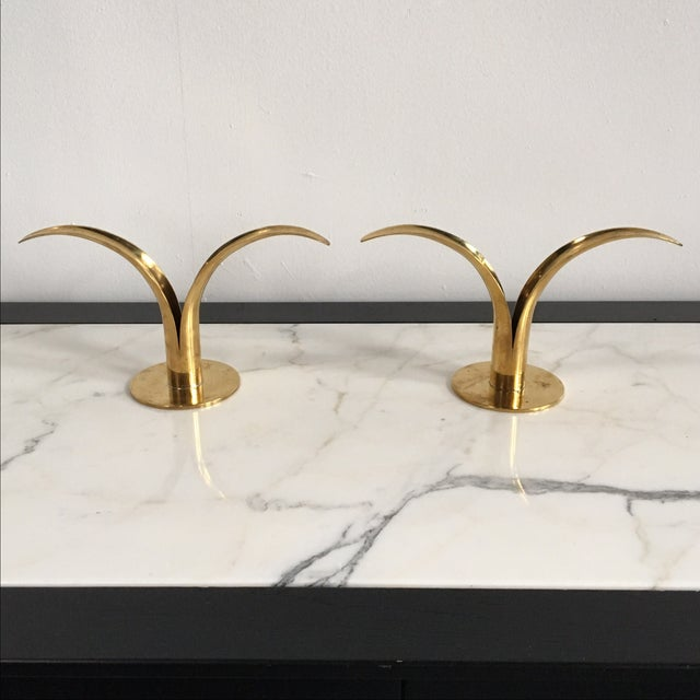 Swedish Brass Candle Holders - A Pair - Image 2 of 4