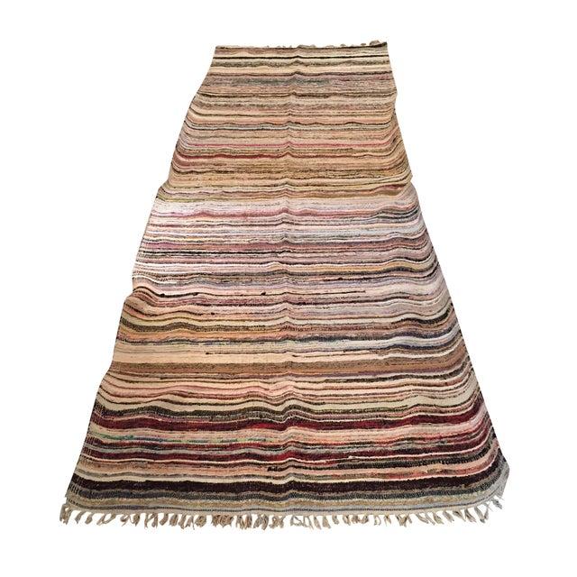 "Striped Turkish Rag Rug Runner- 10'3"" X 3'2"" - Image 1 of 10"