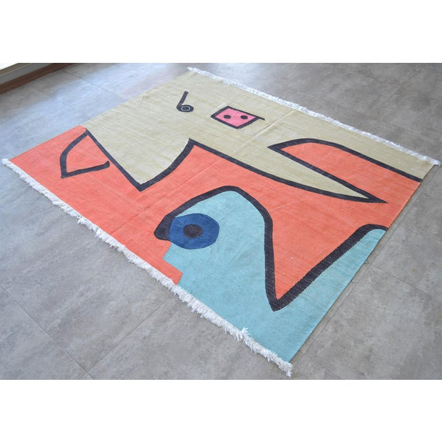 2010s Paul Klee - Silence of the Angel - Inspired Silk Hand Woven Area - Wall Rug 4′7″ × 5′7″ For Sale - Image 5 of 11